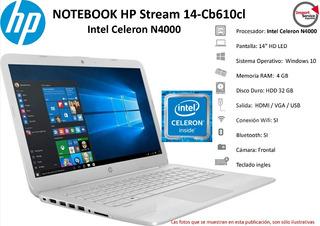 Notebook Hp Stream 14-cb610cl Intel Celeron N4000 4gb Hdd32