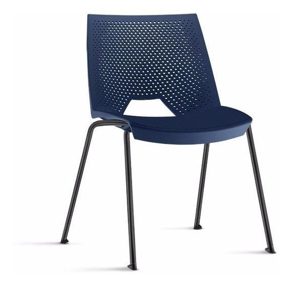 Cadeira Strike Polipropileno Azul Base Fixa 4 Pés Tsmob
