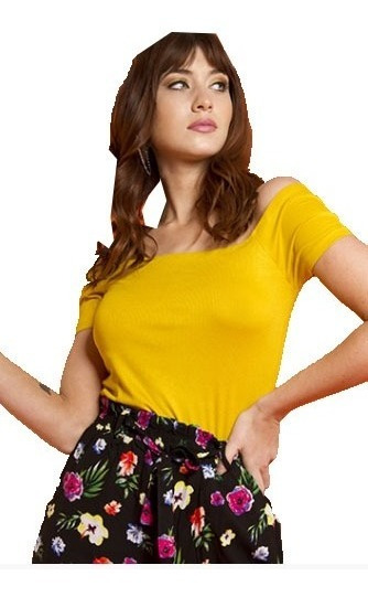 Remera Yellow Off Shoulder Color Mostaza.