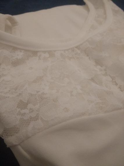 Vestido Blanco Crema Con Encaje