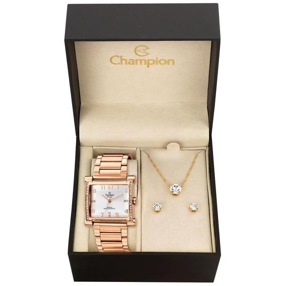 Relógio Champion Kit Feminino Semijóia Cn28768j