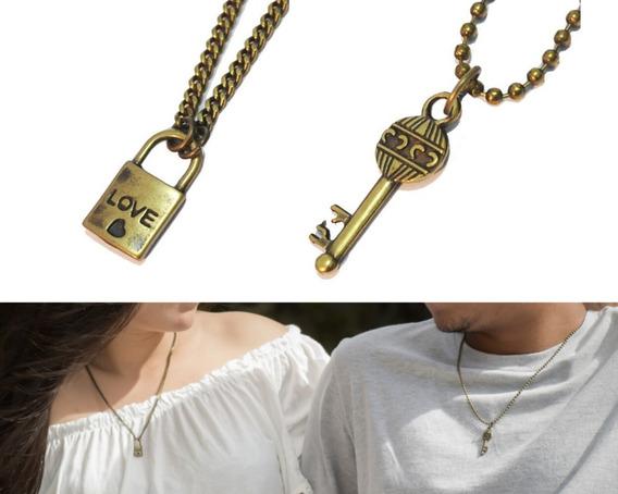 Colar Casal Chave Cadeado Presente Namorados Kit C/ 2