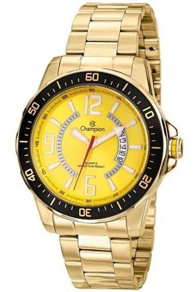 Relógio Masculino Champion Esportivo Dourado Amarelo Oferta