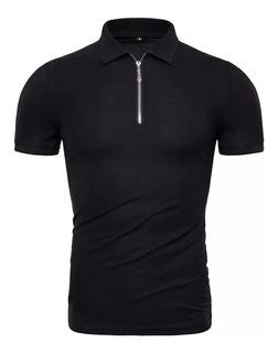 Camisa Polo Com Ziper Gola Polo Colarinho Básica Vcstilo