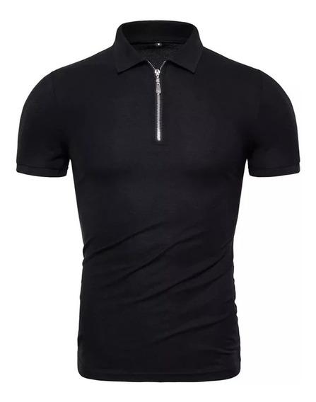 Camisa Polo Com Ziper Gola Polo Camisa Masculina Com Colarinho