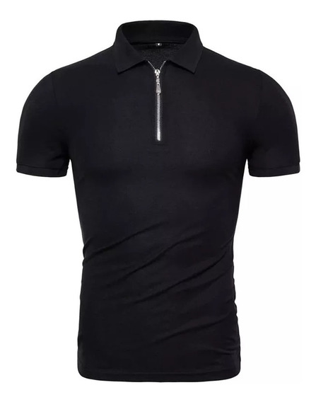 Camisa Polo Com Ziper Gola Polo Camisa Masculina Com Colarin