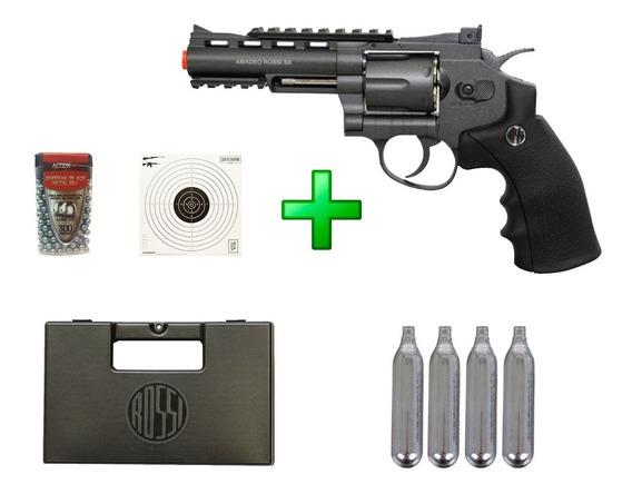 Revólver De Pressão Co2 Rossi 4 - 4.5mm + Kit Lc