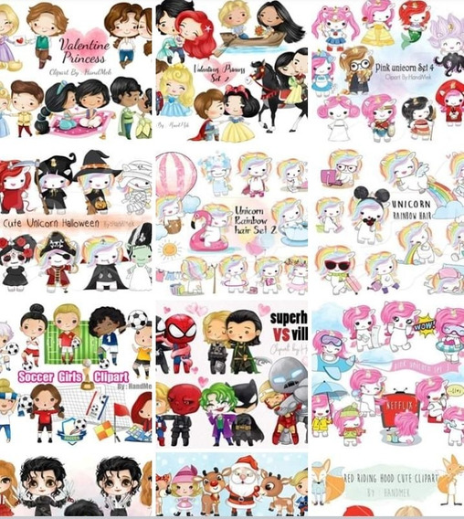 Mega Pack Empresarial +100 Kits Clipart Acuarelas Handmake