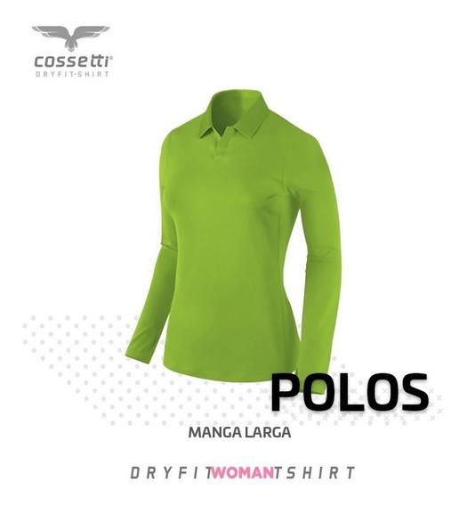 Playera Tipo Polo Manga Larga Dryfit Con Logo Gratis