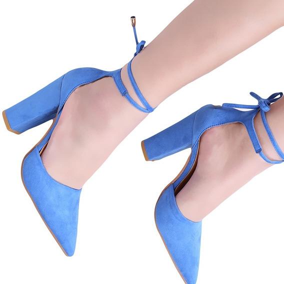 Sapato Bico Fino E Salto Grosso De Amarrar - Várias Cores