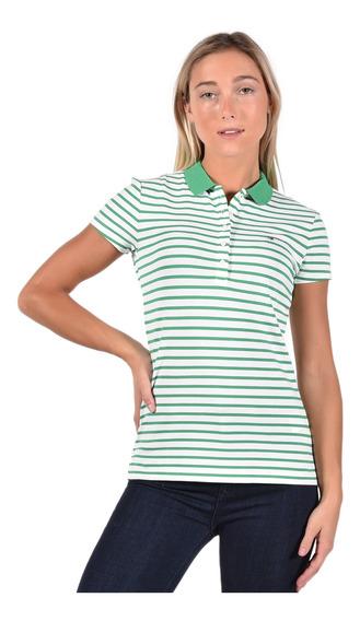 Polo Slim Fit Tommy Hilfiger Verde Ww0ww23706-306 Mujer