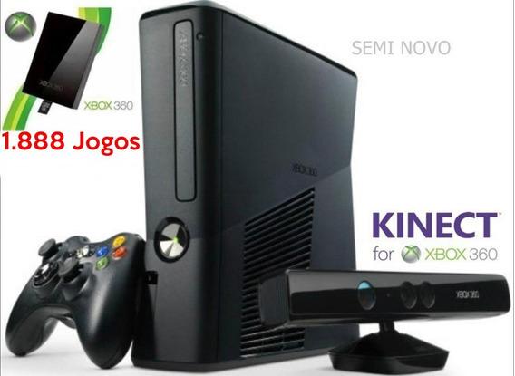 Xbox 360 Slim - Hd De 500gb+kinect+2 Controles+1.888jogos