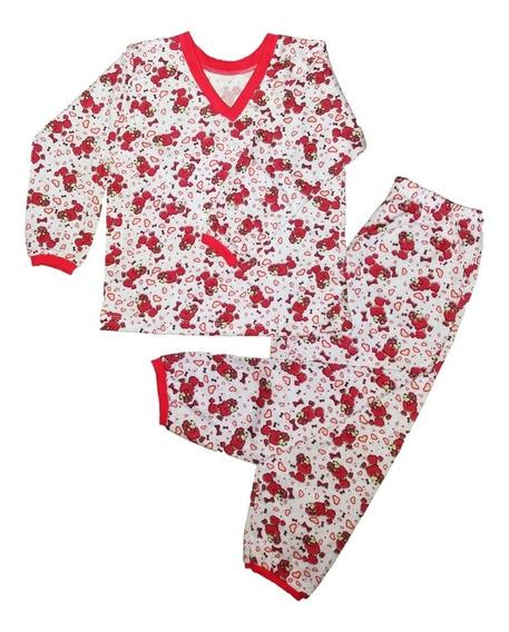 Kit 6 Pijama Infantil Feminino Bebê Algodão Estampado Longo