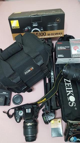 Camara Profesional Nikon D5100 16.2mp (18-55mm/70-300mm) Kit