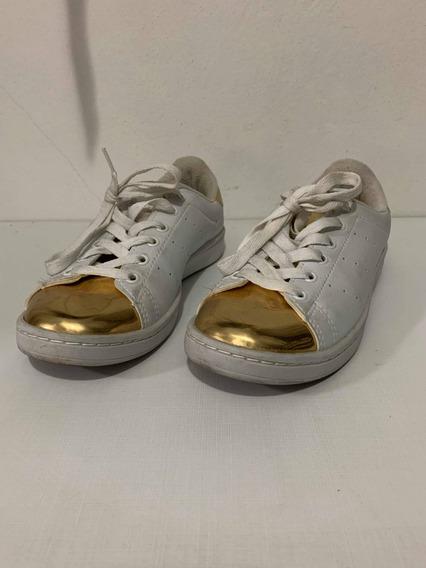 Tênis adidas Branco Com Dourado
