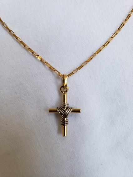 Cordão Com Crucifixo Em Ouro Amarelo E Ouro Branco