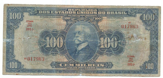 Brasil R-141d, 100 Mil Réis 1942 Autografada, Série 101, Mbc