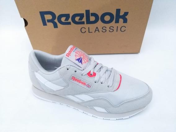 Tênis Reebok Classic Leather Nylon Feminino Cinza Original