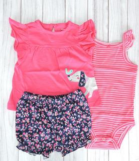 Set 3 Piezas Carters Nena Bebé Short + Body+ Remera Perrito