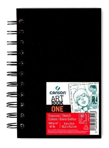 Caderno Sketchbook Canson Artbook One 100g A6 80 Folhas