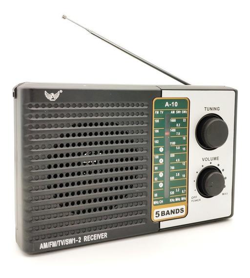Rádio Am Fm Sw Portátil Retrô Saida Fone - Pilha E Energia