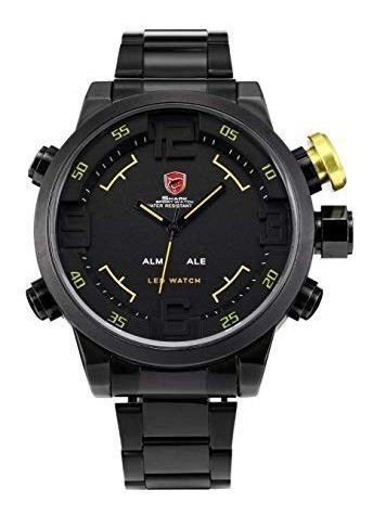 Relógio Shark Sport Militar Sh107 Led Preto Inox Automático