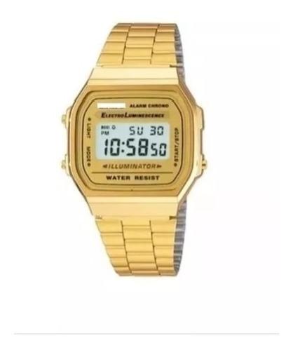 Relógio Digital Retrô Vintage Quadrado Dourado Prata