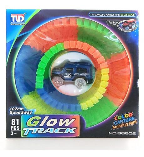 Glow Track Pista De Auto Luminosa 81 Piezas Fácil Encastre