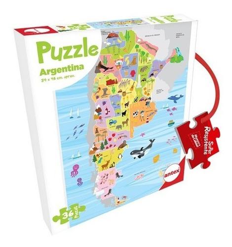 Imagen 1 de 3 de Puzzle Argentina 36 Piezas - Rompecabezas Argentina Niños