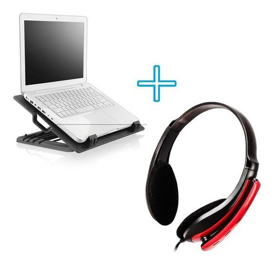 Base De Notebook Com Ventilador + Headset Gamer Venon P2 Pc