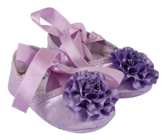 Sapatinho Bebê Menina Lilás Floral Com Laço