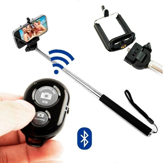 Kit Selfie Bastão + Controle Bluetooth P/ iPhone 4s 5s 6 6s