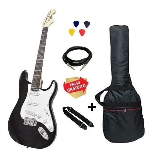 Guitarra Eléctrica Strato Onas Funda Correa Cable Bk Envio