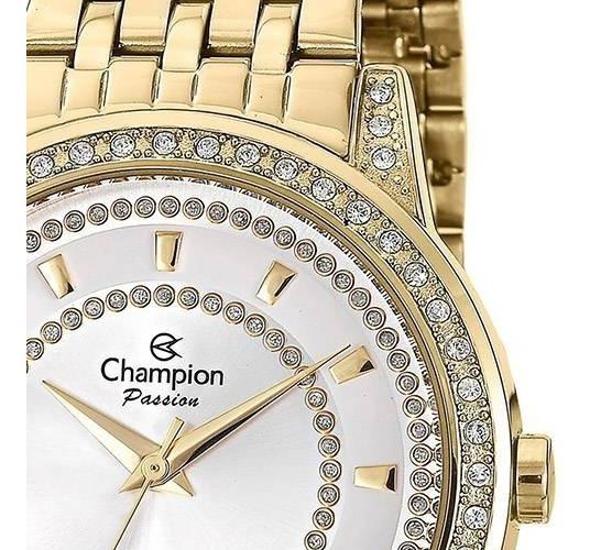 Relógio Champion Dourado Ch24731h Strass Pedrinhas