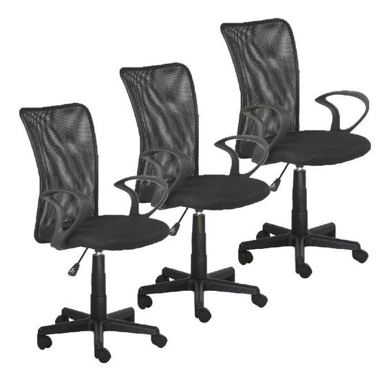 Trio Cadeiras Escritorio Lost Secretaria Preta Giratoria +nf