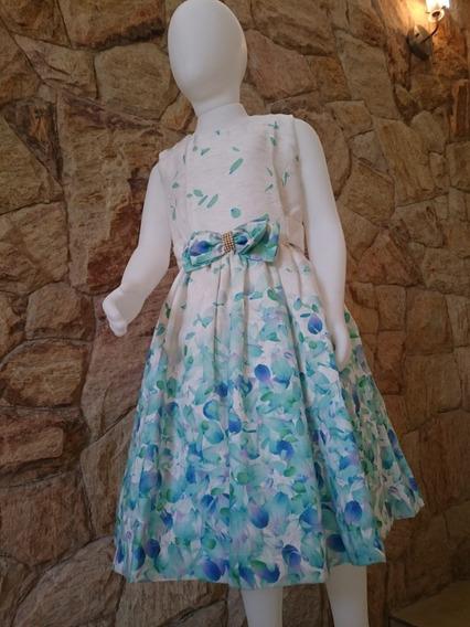 Vestido Infantil Festa Casamento Luxo Em Linho Folhas