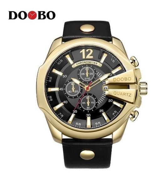 Relógio Masculino Aço Doobo Dourado Fundo Preto Promoção