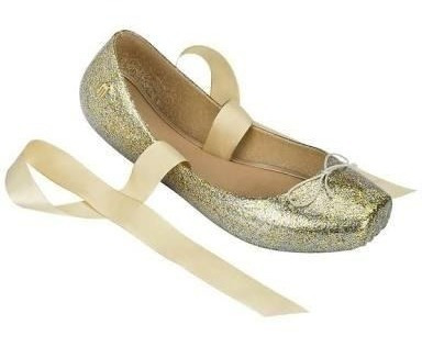 Melissa Ballet Glitter Dourada 33/34 Usada