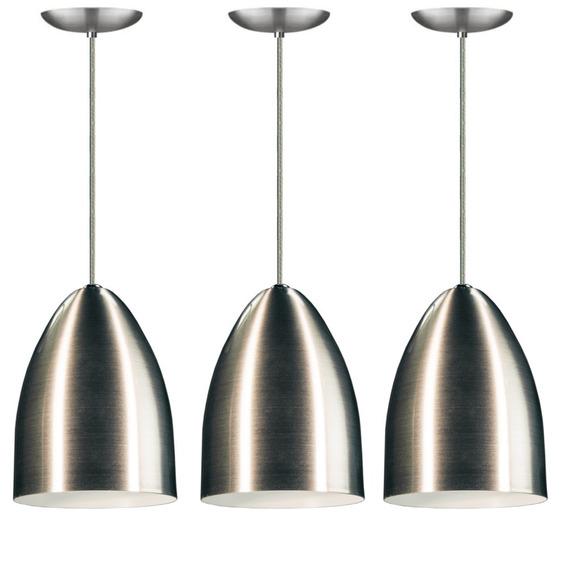 Kit 3 Pendentes Cone De Aluminio Escovado Com Soquete E-27