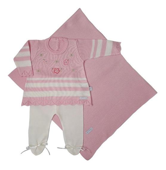 Kit Saida Maternidade C/3 Peças Menina Mini Vestido-rosa Pou