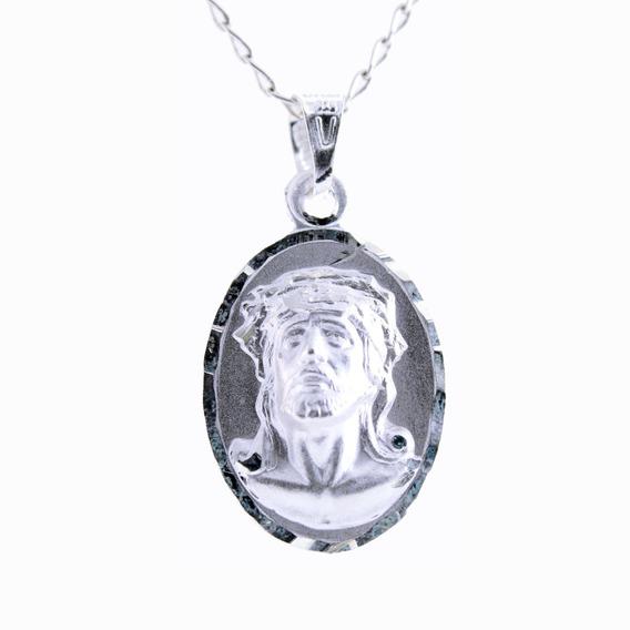 Medalla Virgen De Guadalupe/cristo Plata .925 +cadena. 2.2cm