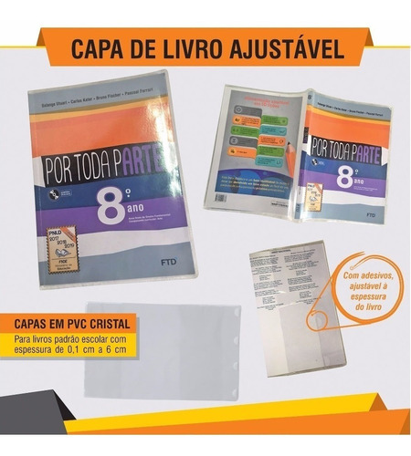 Capa De Livro Escolar - Kit 12 Unidades Para Livros Espiral