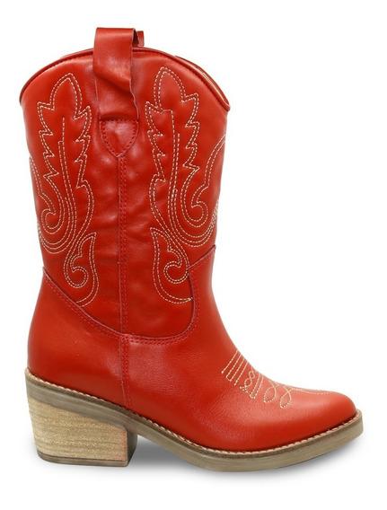 Botas Texanas Fiori Modelo 884 Mujer Cuero Caña Alta