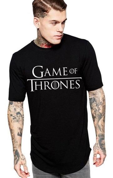 Camiseta Long Line Oversized Masculina Preta Game Of Thrones