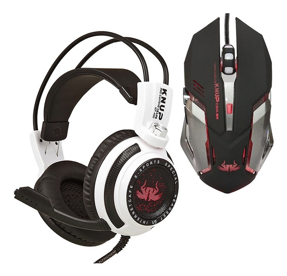 Kit Gamer Fone De Ouvido Headset Knup-400 E Mouse Tiger Knup