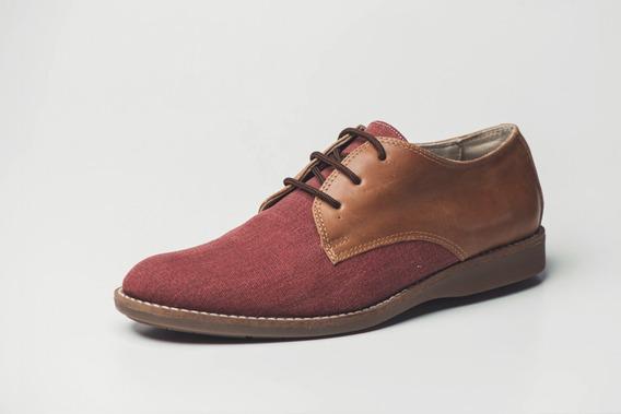 Zapato De Vestir De Cuero Y Lona Hombre Renno Calzados Bujía