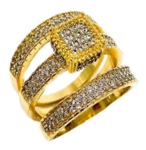 Anel Triplo Cravejado Zircônia Delicado Banhado A Ouro