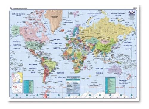 Mapa Mural Laminado Plastificado Planisferio Politi 90x130cm