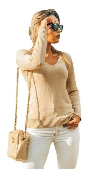 Blusa Basica Modal Decote V Tricot Macio