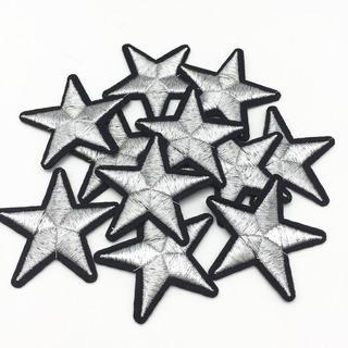 Parche Bordado Estrella Plateada Para Planchar 4*4cm